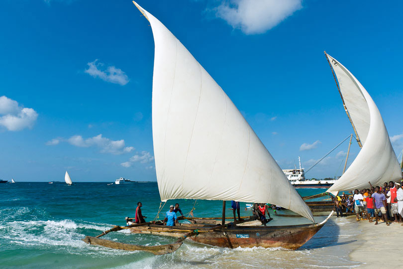 Dhow race contenders reaching the shore of Stone Town